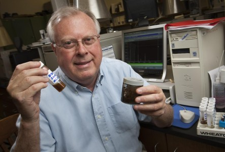 Edward B. Overton, Professor Emeritus, Environmental Sciences, LSU shows samples Saturday, June 19, 2010 of crude oil from the Mississippi Canyon 252 (Deepwater Horizon) oil spill at a lab at the Coastal Studies Institute at Louisiana State University in Baton Rouge, La. Researchers analyze the composition of the oil to see how the oil is changing. (AP Photo/Tim Mueller)